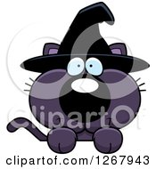 Clipart Of A Happy Purple Halloween Witch Cat Over A Sign Royalty Free Vector Illustration