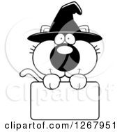 Clipart Of A Black And White Happy Halloween Witch Cat Over A Blank Sign Royalty Free Vector Illustration