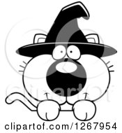 Clipart Of A Black And White Happy Halloween Witch Cat Over A Sign Royalty Free Vector Illustration