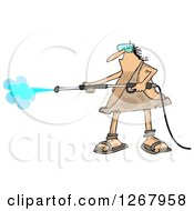 Clipart Of A Hairy Caveman Operating A Pressure Washer Royalty Free Illustration