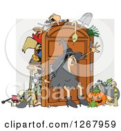 Clipart Of A Witch Trying To Keep Everything In Her Full Closet Royalty Free Vector Illustration