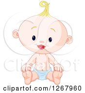 Clipart Of A Cute Happy Blond Caucasian Baby Boy Sitting In A Diaper Royalty Free Vector Illustration