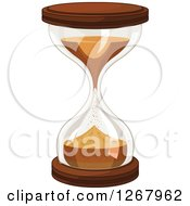 Clipart Of A Wood Hourglass With Falling Sand Royalty Free Vector Illustration