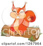 Cute Happy Squirrel Presenting And Sitting On A Log