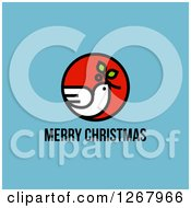 Clipart Of A Merry Christmas Greeting Below A Peace Dove On Blue Royalty Free Vector Illustration by elena