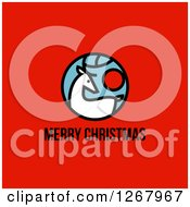 Clipart Of A Merry Christmas Greeting Below A Reindeer On Red Royalty Free Vector Illustration by elena