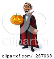 Clipart Of A 3d Dracula Vampire Grinning And Holding A Halloween Jackolantern Pumpkin Royalty Free Illustration by Julos