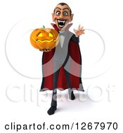 Clipart Of A 3d Dracula Vampire Lunging And Holding A Halloween Jackolantern Pumpkin Royalty Free Illustration by Julos