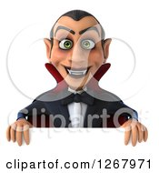 Clipart Of A 3d Dracula Vampire Smiling Over A Sign Royalty Free Illustration by Julos