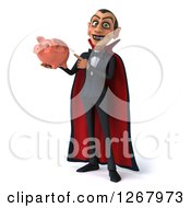 Clipart Of A 3d Dracula Vampire Holding And Pointing To A Piggy Bank Royalty Free Illustration by Julos
