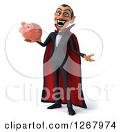 Clipart Of A 3d Dracula Vampire Shrugging And Holding A Piggy Bank Royalty Free Illustration by Julos