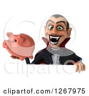 Clipart Of A 3d Dracula Vampire Grinning And Holding A Piggy Bank Over A Sign Royalty Free Illustration by Julos