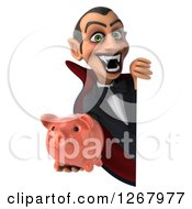 Clipart Of A 3d Dracula Vampire Grinning And Holding A Piggy Bank Around A Sign Royalty Free Illustration by Julos