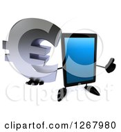 3d Tablet Computer Character Holding A Euro Currency Symbol And Giving A Thumb Up