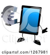 3d Tablet Computer Character Holding A Euro Currency Symbol