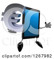 3d Tablet Computer Character Jumping And Holding A Euro Currency Symbol