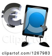3d Tablet Computer Character Holding And Pointing To A Euro Currency Symbol