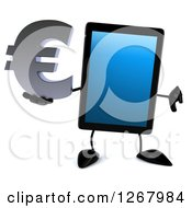 3d Tablet Computer Character Holding A Euro Currency Symbol And Giving A Thumb Down