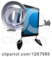3d Tablet Computer Character Jumping And Holding An Email Arobase At Symbol