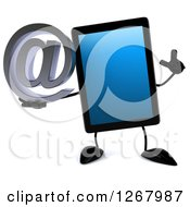 3d Tablet Computer Character Holding Up A Finger And An Email Arobase At Symbol
