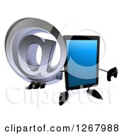 3d Tablet Computer Character Holding A Thumb Down And An Email Arobase At Symbol