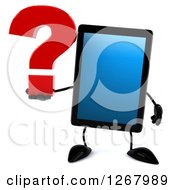 3d Tablet Computer Character Holding A Question Mark
