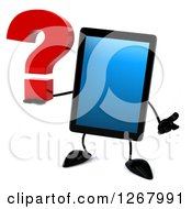 3d Tablet Computer Character Shrugging And Holding A Question Mark