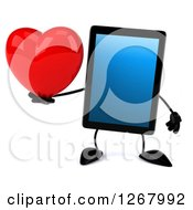 3d Tablet Computer Character Holding A Heart