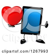 3d Tablet Computer Character Holding A Heart And Thumb Up