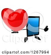 3d Tablet Computer Character Holding Up A Thumb And A Heart