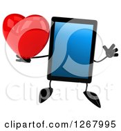 3d Tablet Computer Character Jumping And Holding A Heart