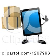 3d Tablet Computer Character Holding Up A Finger And Boxes