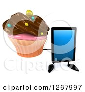 3d Tablet Computer Character Holding Up A Chocolate Frosted Cupcake