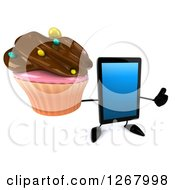 3d Tablet Computer Character Holding A Thumb Up And A Chocolate Frosted Cupcake