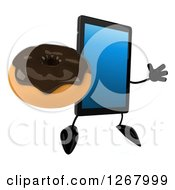 3d Tablet Computer Character Jumping And Holding A Chocolate Donut