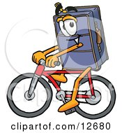 Suitcase Cartoon Character Riding A Bicycle