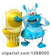 Clipart Of A 3d Blue Germ Giving A Thumb Up By A Toilet Royalty Free Illustration
