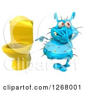 Clipart Of A 3d Blue Germ Plugging His Nose And Pointing To A Toilet Royalty Free Illustration