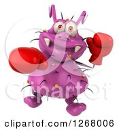 Clipart Of A 3d Purple Germ Boxer Punching 2 Royalty Free Illustration