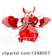 Clipart Of A 3d Red Germ Looking Up And Wearing Boxing Gloves Royalty Free Illustration
