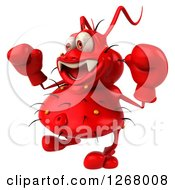 Clipart Of A 3d Red Germ Facing Left And Wearing Boxing Gloves Royalty Free Illustration