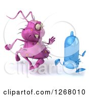 Clipart Of A 3d Purple Germ Chasing A Condom Royalty Free Illustration by Julos