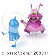Clipart Of A 3d Purple Germ Chasing A Condom 2 Royalty Free Illustration by Julos