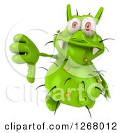 Clipart Of A 3d Green Germ Giving A Thumb Down Royalty Free Illustration