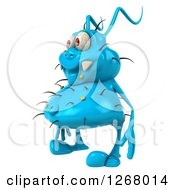 Clipart Of A 3d Blue Germ Facing Left Royalty Free Illustration