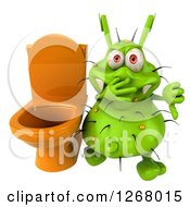 Clipart Of A 3d Green Germ Plugging His Nose And Holding A Thumb Down By A Toilet Royalty Free Illustration