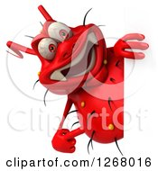 Clipart Of A 3d Red Germ Pointing Around A Sign Royalty Free Illustration