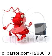 Clipart Of A 3d Red Virus Monster Chasing A Computer Tower Royalty Free Illustration by Julos