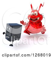 Clipart Of A 3d Red Virus Monster Chasing After A Computer Tower Royalty Free Illustration by Julos
