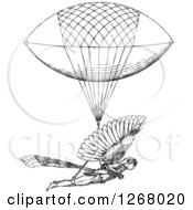 Clipart Of A Black And White Man With A Flying Machine Royalty Free Vector Illustration